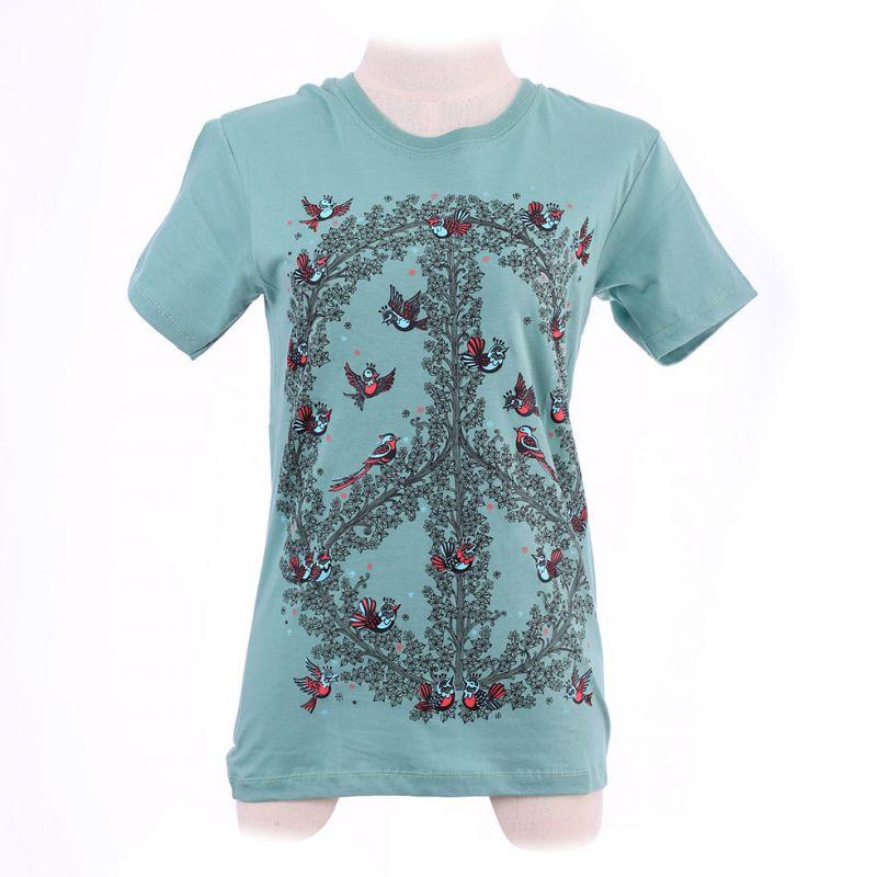 Dámské tričko Hippie Birds Green