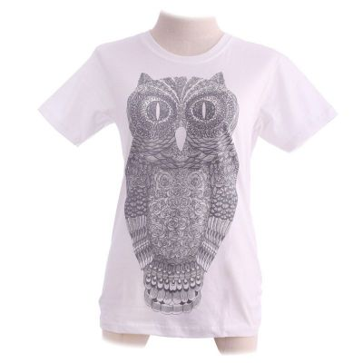 Dámské tričko Big Owl White | XS, M
