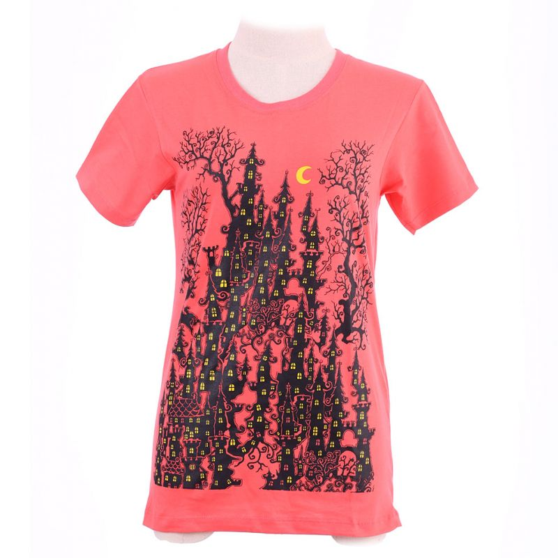 Dámské tričko Haunted Castle Pink