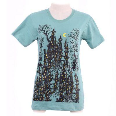Dámské tričko Haunted Castle Green | XS, šedé, vel. S
