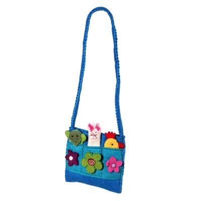 Plstěná dětská kabelka Zvířátka Azurová