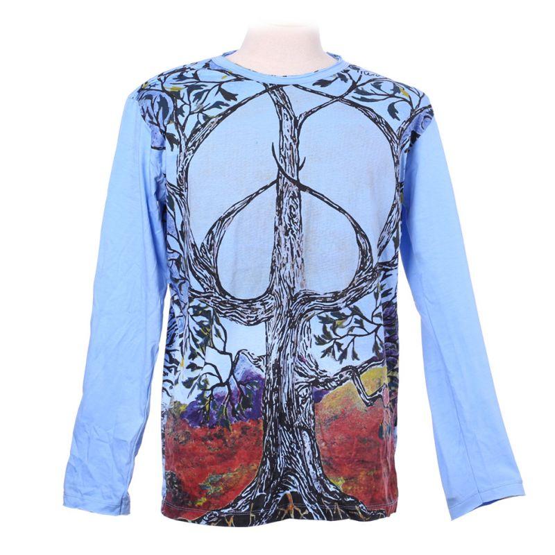 Tričko Mirror s dlouhým rukávem - Tree of Peace Blue
