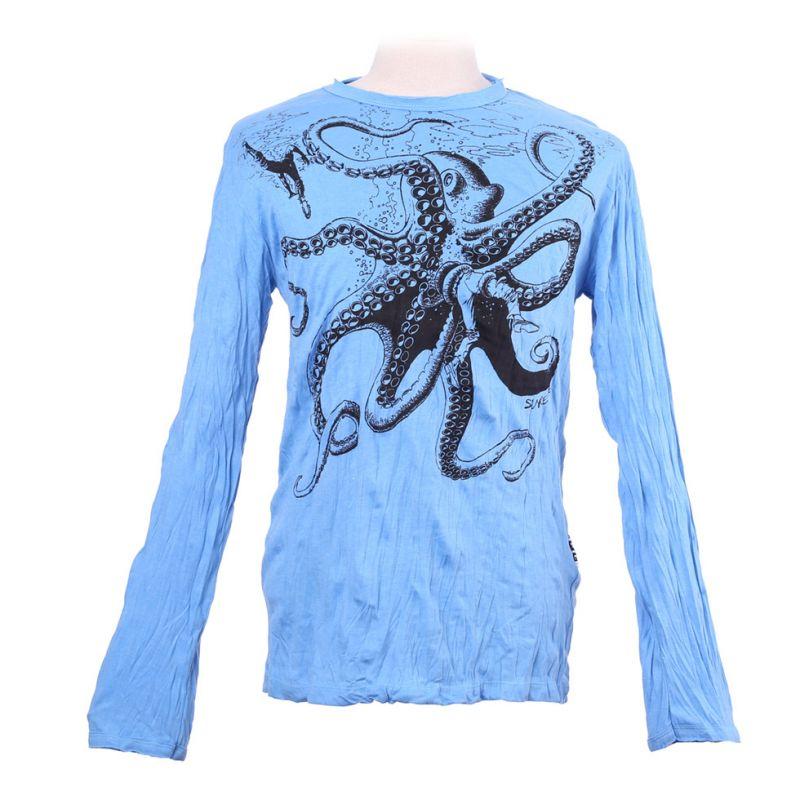 Pánské tričko Sure s dlouhým rukávem - Octopus Attack Turquoise