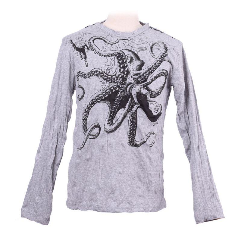 Pánské tričko Sure s dlouhým rukávem - Octopus Attack Grey