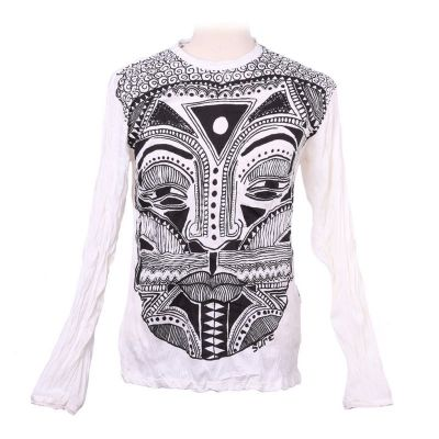 Tričko Khon Mask White - dlouhý rukáv