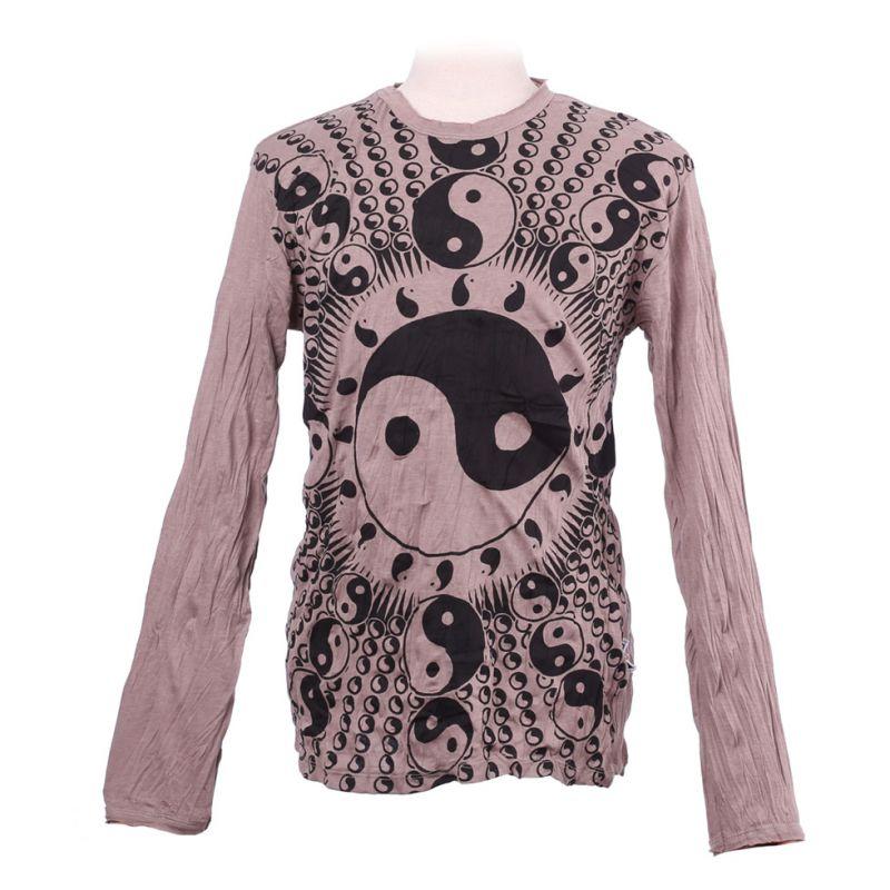 Pánské tričko Sure s dlouhým rukávem - Yin&Yang Brown