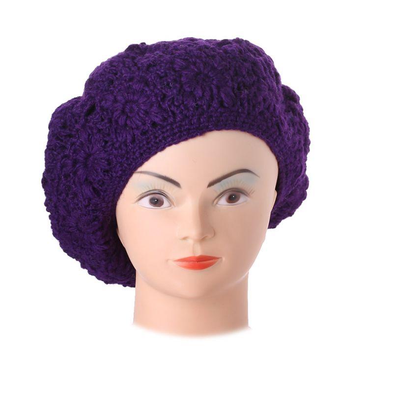 Háčkovaný baret Laras Purple
